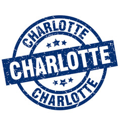 Charlotte blue round grunge stamp vector