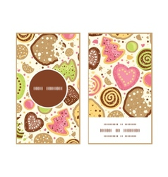 colorful cookies vertical round frame pattern vector image