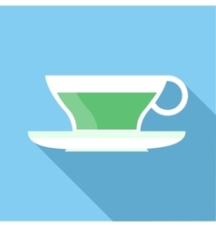 Cup of green tea icon flat style vector image vector image