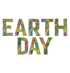 Earth day decorative zentangle object earth day vector