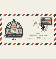 Envelope with washington capitol and american flag vector