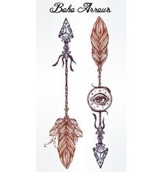 Ethnic boho decorative arrows set in tattoo style vector