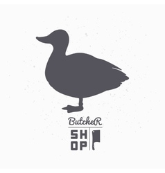 Farm bird silhouette Duck meat Butcher shop vector image