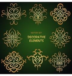 Golden ethnic elements vector image vector image