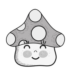 Grayscale kawaii fangus happy cheeks and close vector