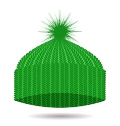 Green knitted cap winter hat vector