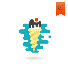 ice cream in a cone with a cherry vector image