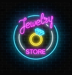 Jewelry store glowing neon signboard on dark vector