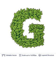 Letter g symbol of green leaves vector