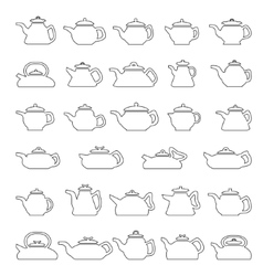 Line Icons Pot And Kettle Collection vector image vector image