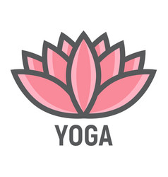 lotus filled outline icon fitness and sport yoga vector image
