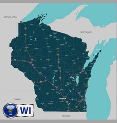 Map of state wisconsin usa vector