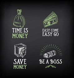 Money badge and logo design quote text vector