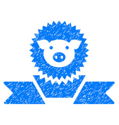 Pig reward ribbon icon grunge watermark vector