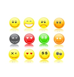 Round smiles in different mood vector image