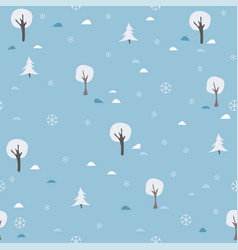 Seamless tree pattern on colorfule blue background vector
