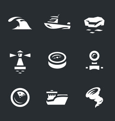 Set of sea navigation icons vector