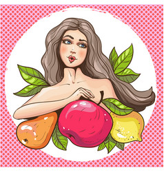 sexy pop art woman with fruits vector image vector image
