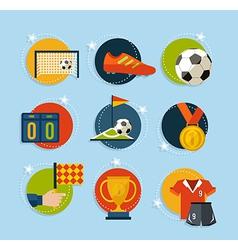 Soccer flat icons set vector