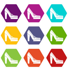 women shoes on platform icon set color hexahedron vector image