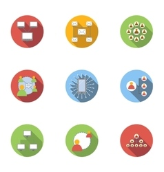 World internet icons set flat style vector image