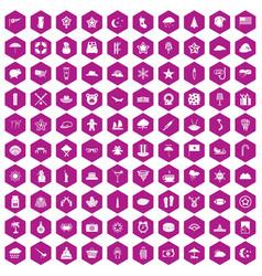 100 star icons hexagon violet vector