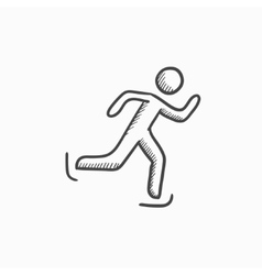 Speed skating sketch icon vector
