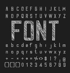Sketch alphabet font and number design vector