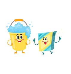 Funny washing powder laundry detergent and soap vector