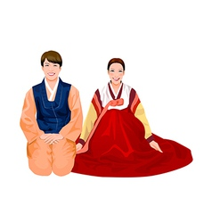 Young couple in korean dress vector