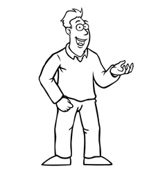 Black and white man with thumbs up vector