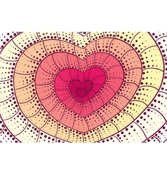 Doodle heart background vector image