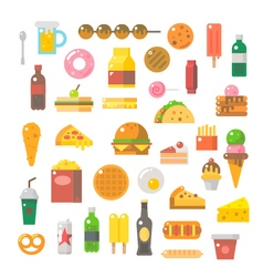 Flat design of junk food set vector