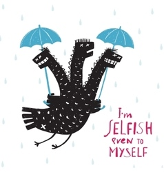 Comic selfish dragon in rain with umbrella rough vector