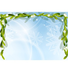 Christmas background with green mistletoe vector