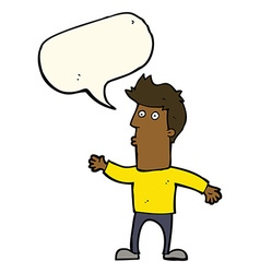Cartoon surprised man with speech bubble vector