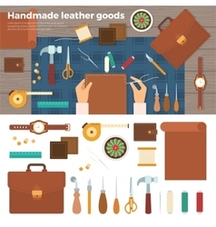 Tools for handmade with leather hobby concept vector