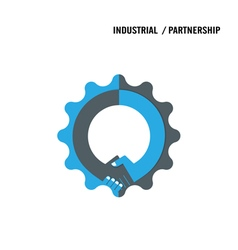Handshake and gear abstract design vector