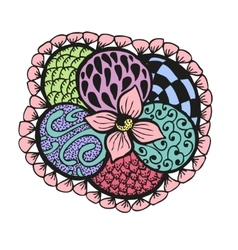 Colorful doodling hand drawn amazing flower vector