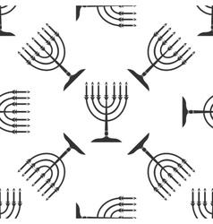 Hanukkah menorah icon pattern on white background vector