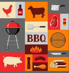 Bbq background with grill objects and icons vector