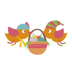 Birds with basket vector