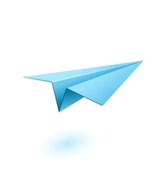 Blue paper airplane vector image vector image