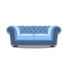 blue sofa on white icon realistic modern vector image vector image