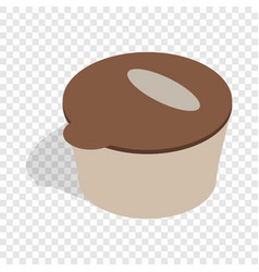 Brown plastic container for food storage icon vector