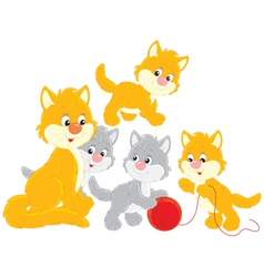 Cat and kittens vector