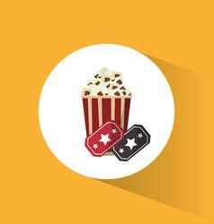 cinema pop corn tickets movie vector image vector image