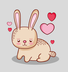 Cute bunny doodle cartoon vector