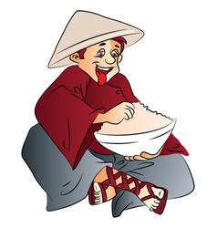 Excited man with a bowl of food vector