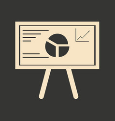Flat in black and white graph on blackboard vector